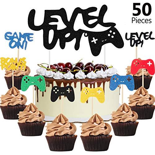 Blulu 50 Pezzi Sali di Livello Video Game Cupcake Topper per Videogiochi Topper per Videogiochi Torta Cupcake per Festa a Tema di Giochi Decorazioni di Compleanno