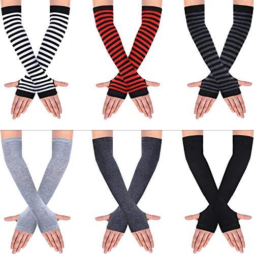 SATINIOR 6 Paare Frauen Lange Fingerlose Handschuhe Stricken Armwärmer Daumenloch Dehnbare Handschuhe (Streifen- und einfarbige Serie)