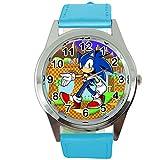 TAPORT® Reloj de cuarzo azul correa de cuero para los fans de Sonic el erizo