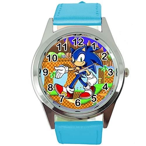 TAPORT Reloj de cuarzo azul correa de cuero para los fans de Sonic el erizo