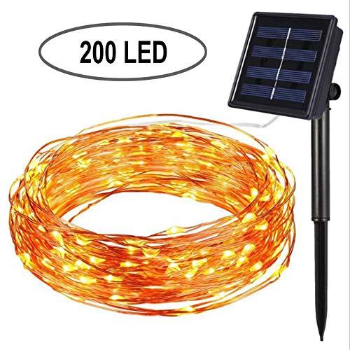 RJHY Solar Lichterkette, 200 LED Solar Fairy Light 8-Modus Kupfer Licht im Freien wasserdicht Garten dekoratives Licht LED Laterne,200LED