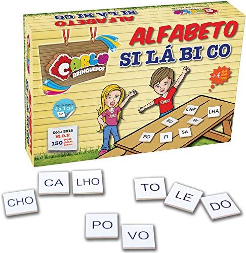 Carlu Brinquedos - Alfabeto Silábico Jogo de Escrita 150 Peças, 4+ Anos, Multicor, 3018