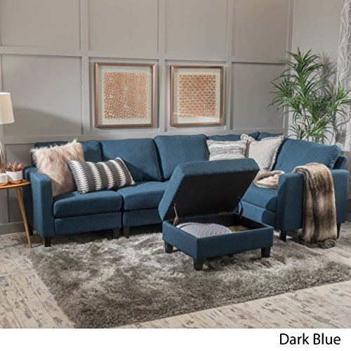 Christopher Knight Home 300117 Carolina Sectional Sofa Set with Ottoman, 6-Piece Living Room Furniture with Storage, Dark Blue