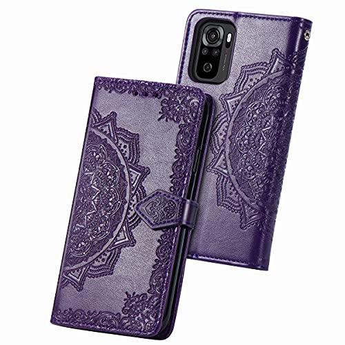 JIAFEI Funda para Xiaomi Redmi Note 10 4G, Estampado Mandala Libro de Cuero Billetera Carcasa, PU Leather Flip Folio Case Compatible con Xiaomi Redmi Note 10 4G, Púrpura