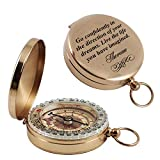 Aurelie & George Engraved Pocket Compass - Compass with an Inspirational Quote by Thoreau - Gift for Graduation, Anniversary, Baptism, Retirement, or Christmas - Brass Working Compass
