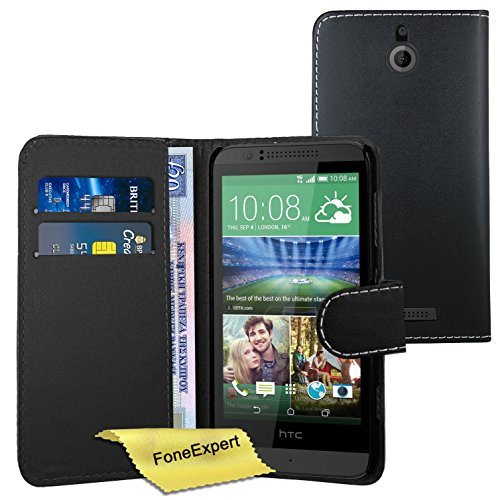 FoneExpert® Wallet Hülle Flip Cover Hüllen Etui Ledertasche Lederhülle Premium Schutzhülle für HTC Desire 510 + Bildschirmschutzfolie (Wallet Schwarz)