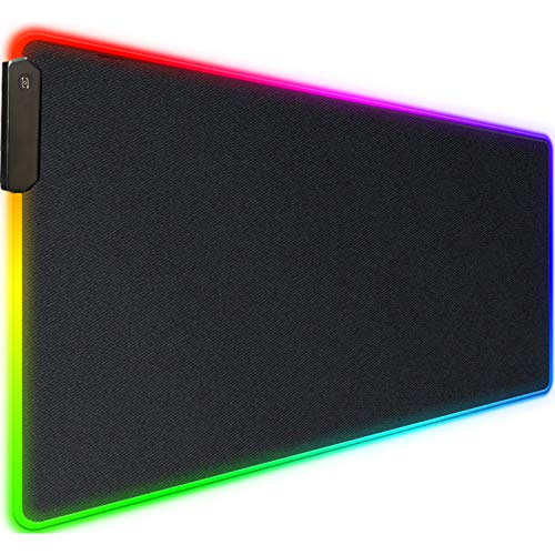 RGB Gaming Mouse Pad,Upgraded 30% Larger Durable 31.5'x15.7' Mat,Waterproof Extended Large Gaming Mouse Pad with Stitched Edges,LED Large Anti-Slip Rubber Base Gaming Mouse Pad for Gaming Home Office