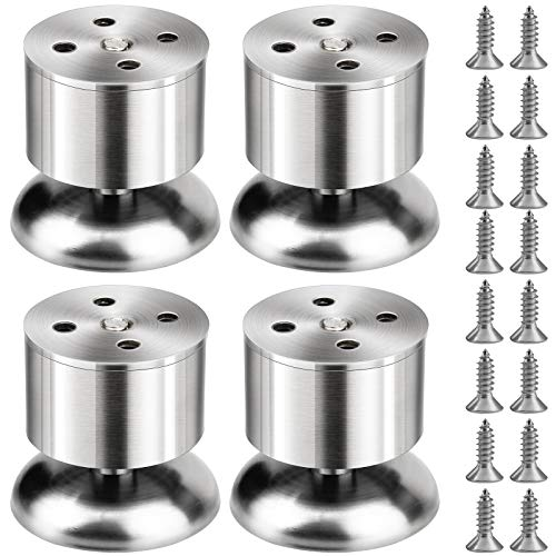 4Pcs Stainless Steel Cabinet Feet, Kitchen Adjustable Furniture Legs, with Screws (Adjustable Height 0-10mm) for Desk Feet, Home, Office, Kitchen, Sofa, Table Bed