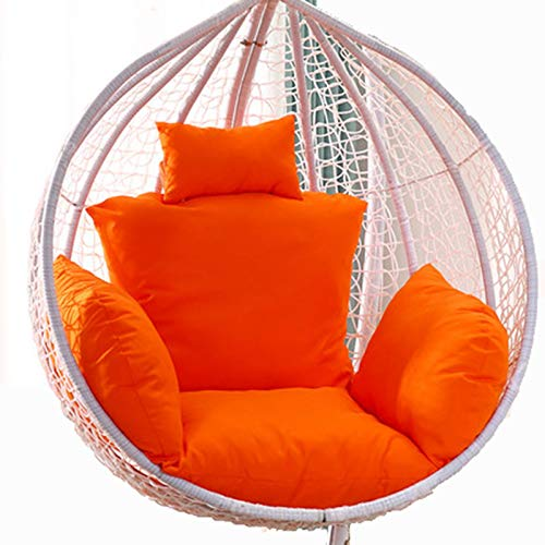 Egg Chair Cushion Only, Hanging Swing Chair Seat Cushion Replacement, Thicken Hanging Hammock Chair Cushion with Headrest and Armrests, Outdoor Garden Chair Pads Orange
