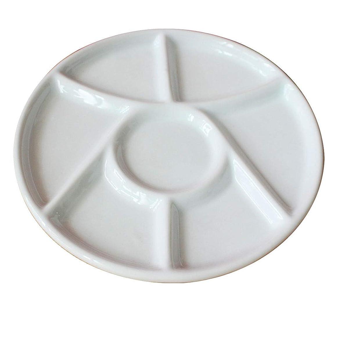 チャットイブニング成長FELICIAAA 9インチプラムカラーパレットラウンドピグメントパレットガッシュ水彩画油絵セラミックシックスグリッド ( Color : ホワイト )