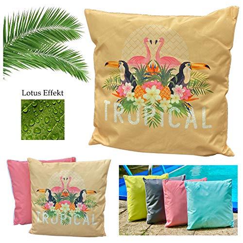 heimtexland ® Coussin d'extérieur tropical - Effet lotus - Résistant à la saleté et à l'eau - 45 x 45 cm - Jaune - Type 688