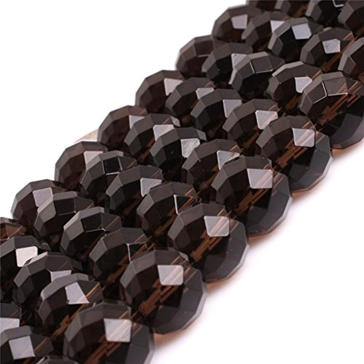 AAA Natural Round Smoky Quartz Beads for Jewelry Making 15'' (14MM/Faceted)