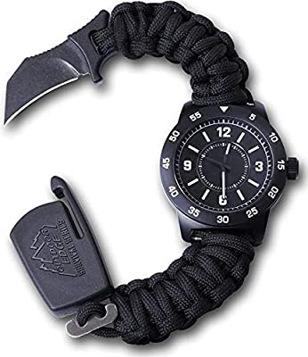 """Outdoor Edge ParaClaw CQD Tactical Survival Watch with Paracord Knife Band, 100' Water Resistant Titanium Coated Zinc Alloy Case and 1.5"""" Hawkbill Knife Blade (Large)…"""
