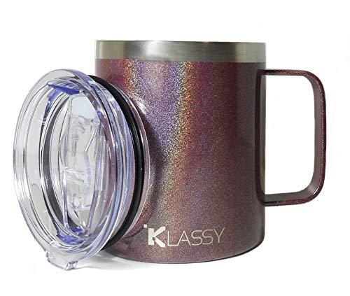 Klassy - Taza de café con aislamiento al vacío, de acero inoxidable, 340 ml, con asa y tapa a prueba de salpicaduras, para bebidas frías y calientes | Jubileo de cereza holográfica