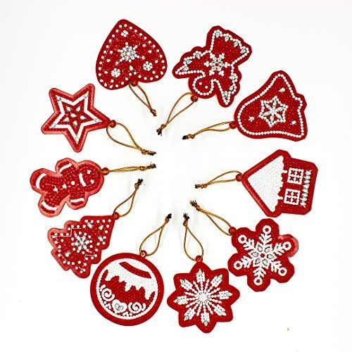 YOBEYI 10Pieces Gift Wrap Tags DIY Artificial Diamond Painting Christmas Stickers Decoration Handicraft Cards Holiday Card Art Craft Decoratio(B)