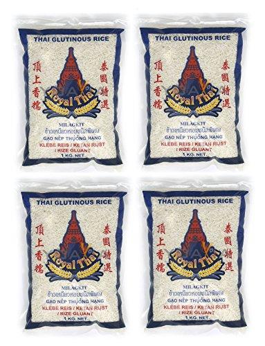 4er-Pack ~ ROYAL THAI [4x 1 kg] Klebreis ~ Glutinous Rice ~ Kleberei