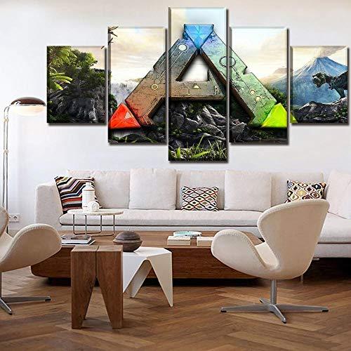 FHSFFS Leinwanddrucke Leinwand Poster Home Decor Wandkunst Framework 5 Stück Game Ark Survival Evolved Logo Gemälde für Wohnzimmer Hd Print Bild Drucke auf Leinwand