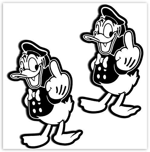 SkinoEu® 2 STÜCK Vinyl Aufkleber Stickers AUTOAUFKLEBER Donald Duck MITTELFINGER Auto Motorrad Fenster TÜR Fahrrad B 219