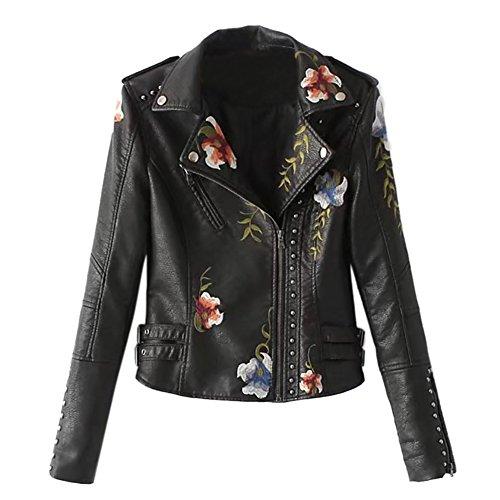 iShine PU Lederjacke Damen Kunstlederjacke mit Stickerei Bikerjacke für damen Kurzjacke Übergangsjacke Leather Jacket Outwear-BK/A-XL