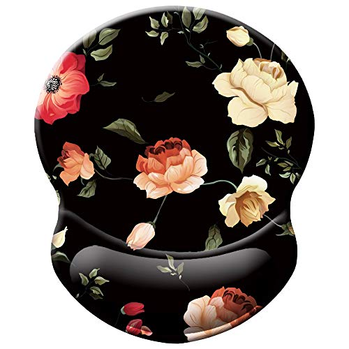 BOSOBO Ergonomic Mouse Pad with Gel Wrist Rest Support, Art Design Floral Wrist Rest Mousepad Pain Relief Flowers Mouse Mat for Office Home Computer PC Laptops Women and Men, Non-Slip PU Base, Black