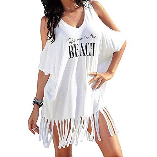 ✿ Vestito Elegante Donna ✿,❀Sasstaids Mini Abito,Vestiti Sexi da Donna,Womens Nappa Lettere Stampa Baggy Swimwear del Bikini di Occultamenti Beach Dress Bianca M