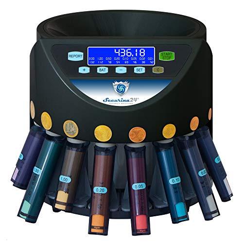 Münzzähler & -sortierer Geldzählmaschine Euro Münzen SR1200LCD mit Abhülsung Geldzähler Münzzählautomat von Securina24® (schwarz - Bluelabel - SBB)