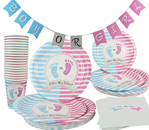Gender Reveal Party Supplies Decorations Pink Girl Blue Boy 142 Piece (Serves 20) Party Set Plates Cups Napkins Table Cover and Banner Baby