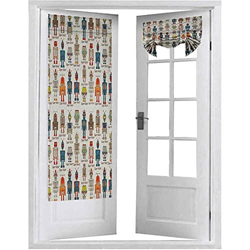 Cortinas francesas para puerta oscuras, varias figuras superrobot diferentes en estilo de dibujos animados, máquina futurista, 2 paneles-66 x 172 cm, tricia cortina para puertas y ventanas, multicolor
