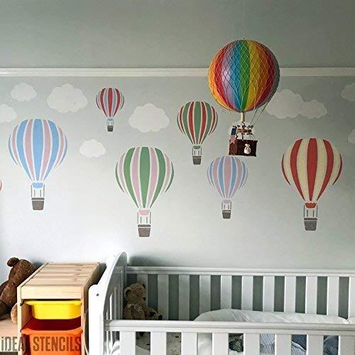 Heißluftballon Schablone Kinderzimmer & Kind Friendly Home Wand Dekoration & Handwerk Schablone Wandfarbe Stoffe & Möbel 190 Mylar wiederverwendbar Schablone - semi transparent Schablone, XS/11x17cm