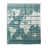 JSTEL Decor Duschvorhang Weltkarte mit Kompass-Muster, 100 prozent Polyester-Stoff, Duschvorhang, 152,4 x 182,9 cm, für Zuhause, Badezimmer, dekorative Duschvorhänge