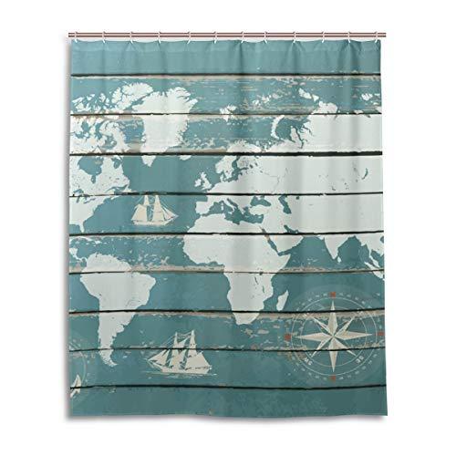 JSTEL Decor Duschvorhang Weltkarte mit Kompass-Muster, 100% Polyester-Stoff, Duschvorhang, 152,4 x 182,9 cm, für Zuhause, Badezimmer, Dekorative Duschvorhänge
