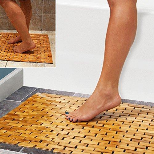 Tapis de bain en bambou Hankey - Luxueux - Avec pieds antidérapants - Pour douche, spa, sauna - Usages multiples, à l'intérieur comme à l'extérieur - Pour cuisine, chambre, de salle de bain, toilettes - Peut aussi servir de paillasson ou de tapis pour animal domestique - 60 x 40 cm
