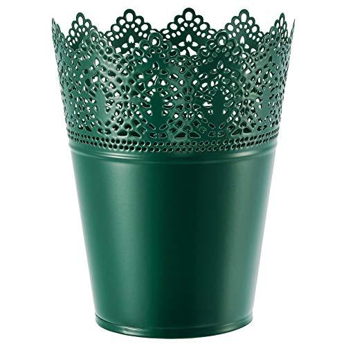 Macetero SKURAR solo para jardín, interior y exterior, color verde oscuro, 18 x 14 cm