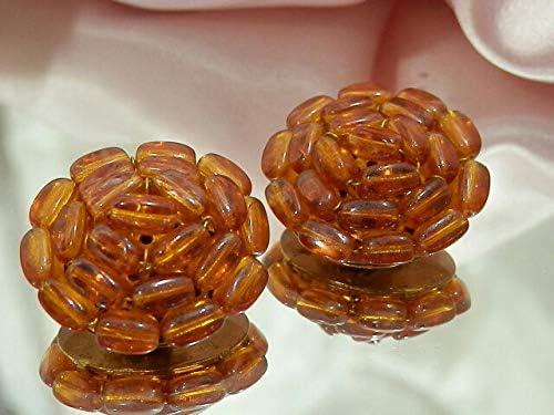 Burnt Orange Art Glass Vintage 1950s Clip Back Earrings