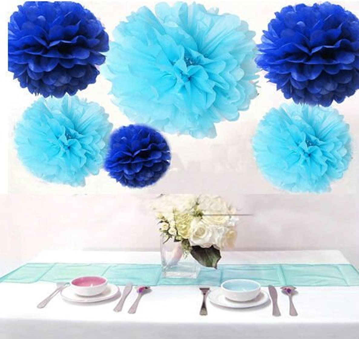 Krismile? Pack of 12PCS Mixed Royal Blue & Aqua Blue Party Tissue Pom Poms Paper Flower Pompoms Wedding Birthday Party Nursery Decoration