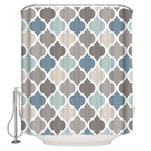 Marokkanischer Duschvorhang aus Stoff für Badezimmer, exotisch, marokkanisch, wasserdicht, mit Haken, 182,9 x 213,4 cm, grau-blau kariert, für Badewannen, Sichtschutz