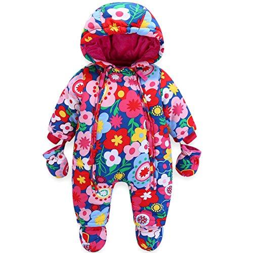 JiAmy JiAmy Baby Winter Overall Mit Kapuze Mädchen Schneeanzüge mit Handschuhen und Füßlinge Warm Kleidungsset 3-6 Monate
