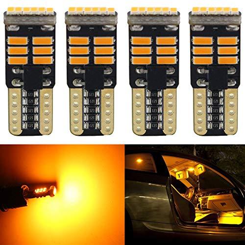 ALOPEE Pack de 4-194 168 2825 W5W T10 Ampoule LED de Rechange Sans Polarité 12V Jaune 3014 18SMD Ampoules de Rechange LED