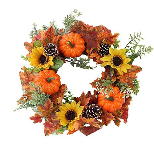 LIJUMN Landa Artificiale per Halloween, Autunnale, Festa del Ringraziamento, Ghirlanda Decorativa in Rattan con Bacche, Zucca, Pigne E Foglie d'Acero