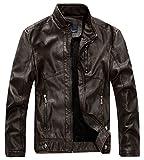 Chouyatou Men's Vintage Stand Collar Pu Leather Jacket (Large, RZQM888-Coffee)