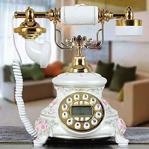 AWAING Telefonos Antiguos Vintage Pantalla de Llamada telefónica Teléfono Retro Rosa Antiguo Teléfono Fijo, Modelos Inteligentes Blancos franceses