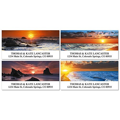 Dramatic Shores Return Address Labels- (4 Designs) Set of 144, Large Self-Adhesive, Flat-Sheet Labels, by Colorful Images