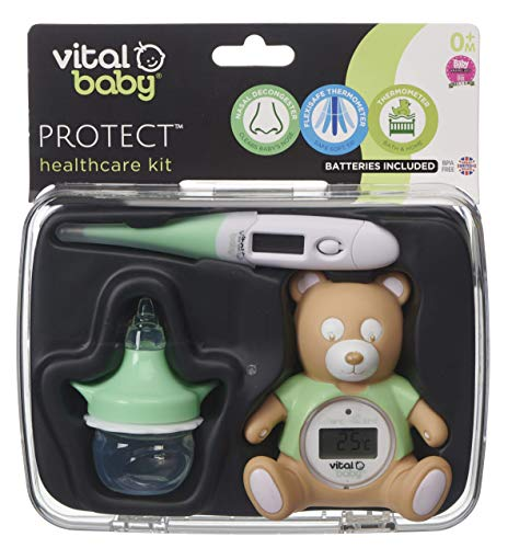 vital baby PROTECT Healthcare Kit, Room and Bath Thermometer, Nasal Aspirator, Contact Thermometer, Nursery Health and Safety, Decongester