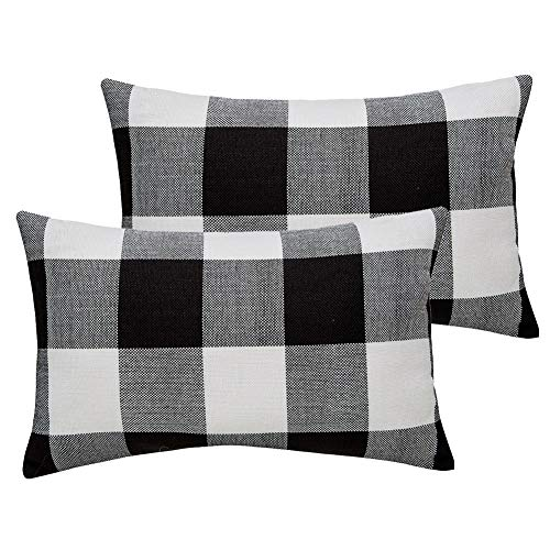 MKLFBT Pack of 2 Farmhouse Home Decor Lumbar Pillow Covers 12 x 20 Black White Buffalo Checked Plaids Fall Throw Pillow Covers Linen Cushion Covers for Sofa Couch Outdoor Camping