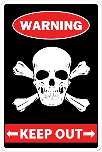 Mantener fuera con calavera & tibias cruzadas alerta 8
