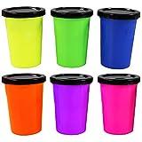 com-four 6X Schleim mit Pupsgeräusch in der Dose, Pupsknete ideal geeignet für Geburtstage (Furzknete in Pink, Lila, Orange, Grün, Blau und Gelb) (Set15)