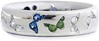Beiswe Blue Crystal Butterfly Rings Bridal Blue CZ Engagement Rings Wedding Anniversary Butterfly Promise Rings (Blue Green-Size 9)