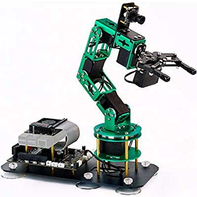 Yahboom Programmable Robot Arm for Raspberry Pi 4B AI Smart Robotic Arm with Camera 6-DOF ROS Open Source for Adults ?DOFBOT Without Raspberry Pi 4B?