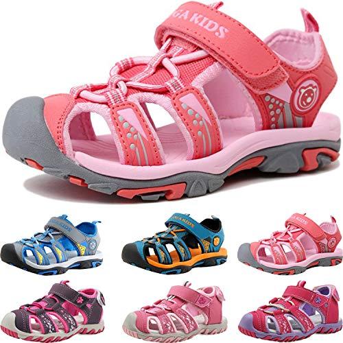Sandalen Jungen Mädchen Geschlossene Sportliche Sandalette Kinder Atmungsaktiv Strandschuhe Outdoor Trekkingsandalen Mit Klettverschluss Pink
