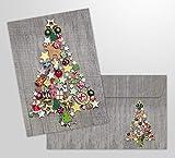 10 tarjetas de Navidad 'Árbol de Navidad colorido' con sobres - 10 piezas tarjetas plegables...